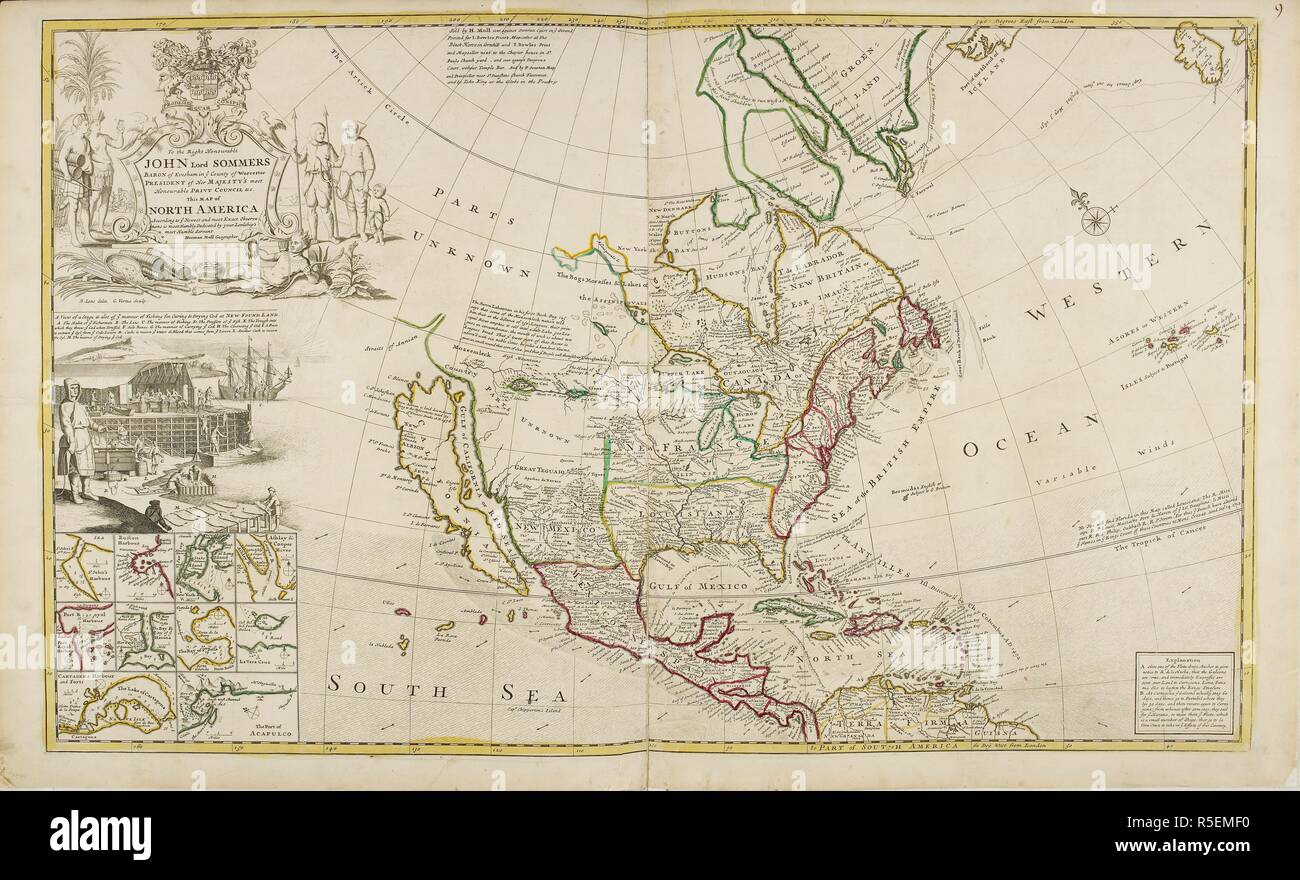 Map of North America dated 1715. The Dominions in North ...