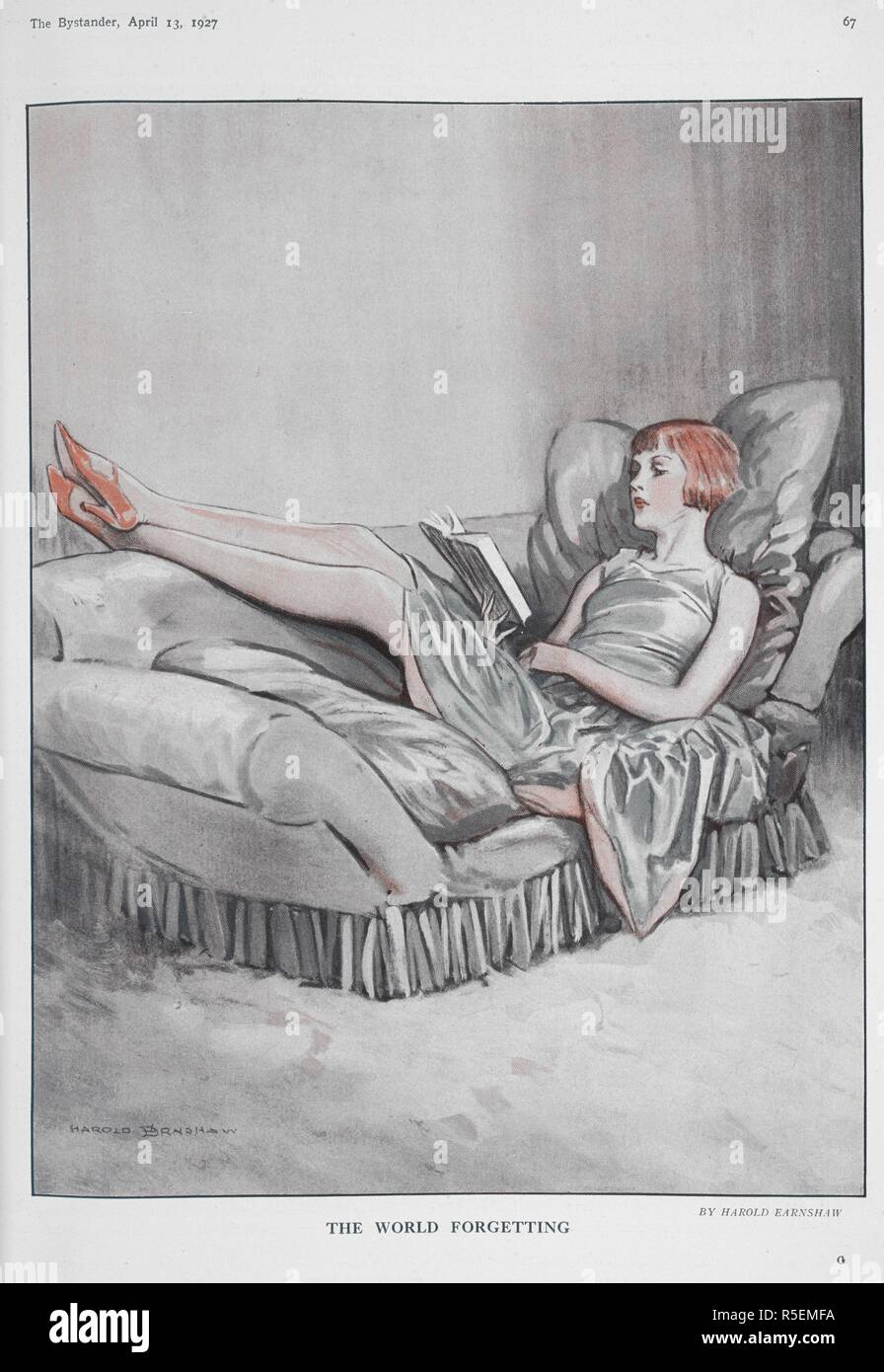 The world forgetting'. A woman lying down on a sofa reading a book. The bystander. London : The Bystander, 1903-1940. Source: Z.C.9.d.560, 13 April 1927 page 67. Author: Earnshaw, Harold. - Stock Image
