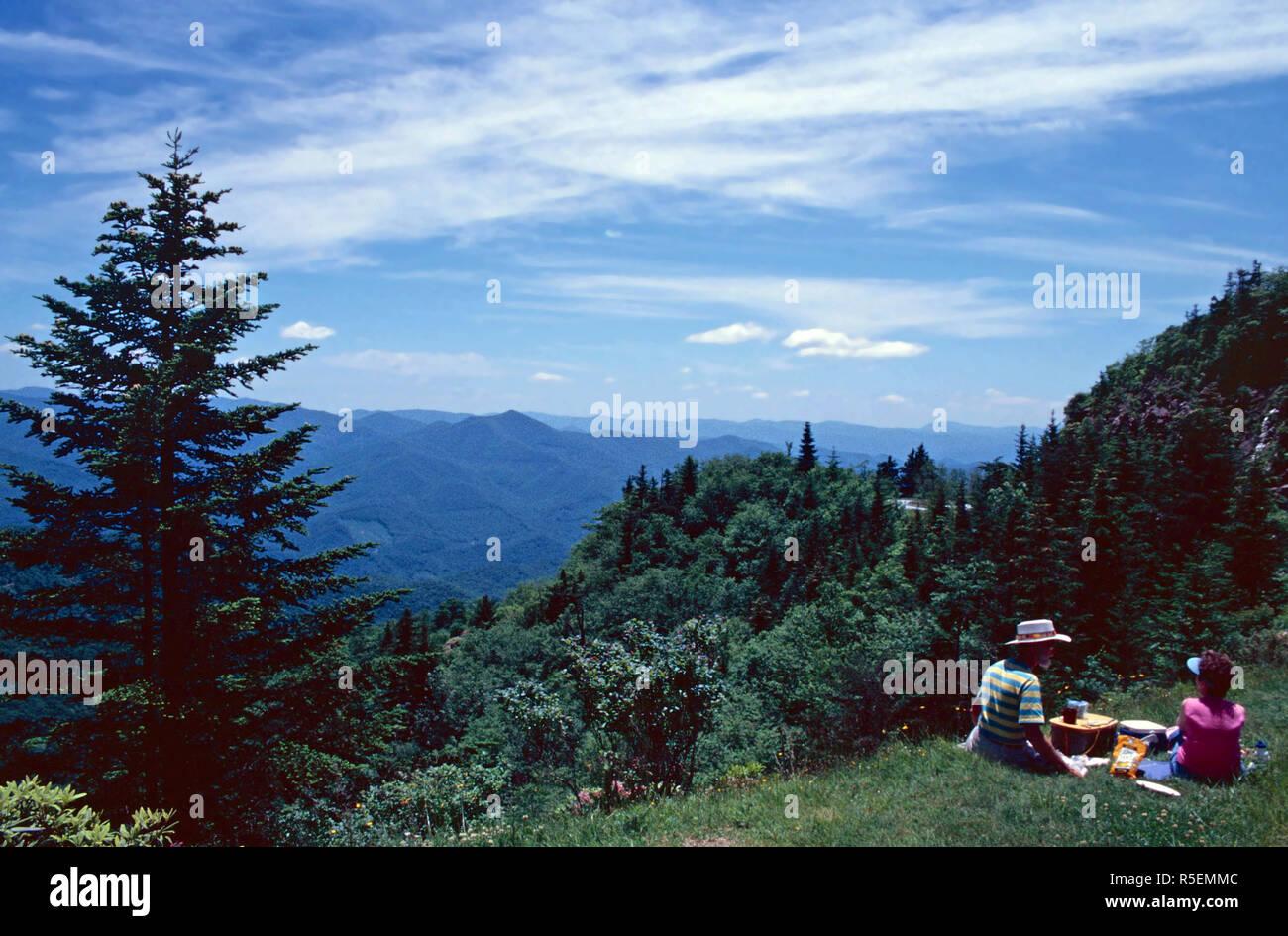 Picnicking at Waterrock Knob,Blue Ridge Parkway,North Carolina - Stock Image