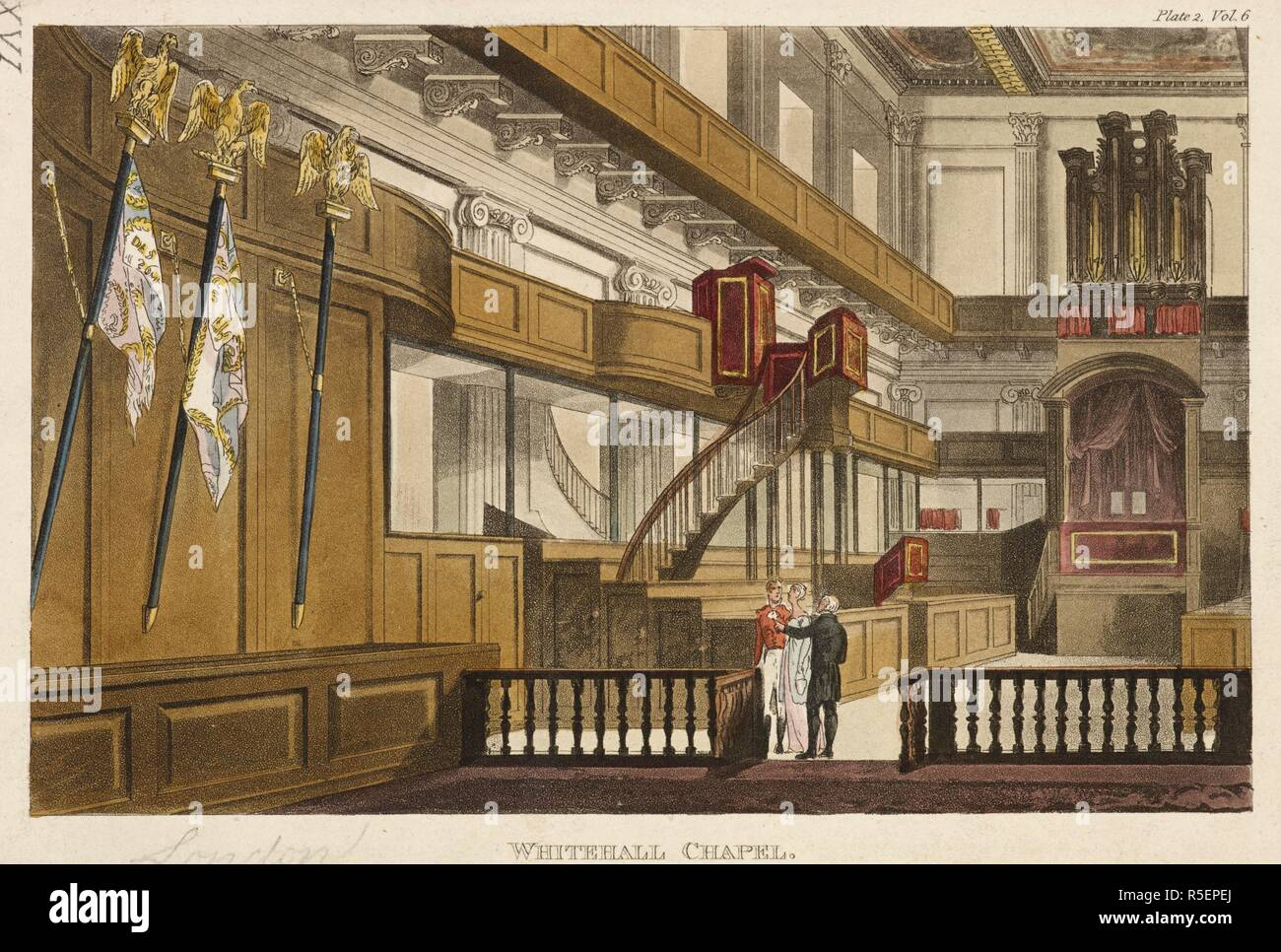 Interior of Whitehall Chapel; flags on the left; the organ on the far right; figures standing in the centre. WHITEHALL CHAPEL. [London] : [July 1811]. Etching and aquatint with hand-colouring. Source: Maps K.Top.26.5.q. Language: English. Stock Photo