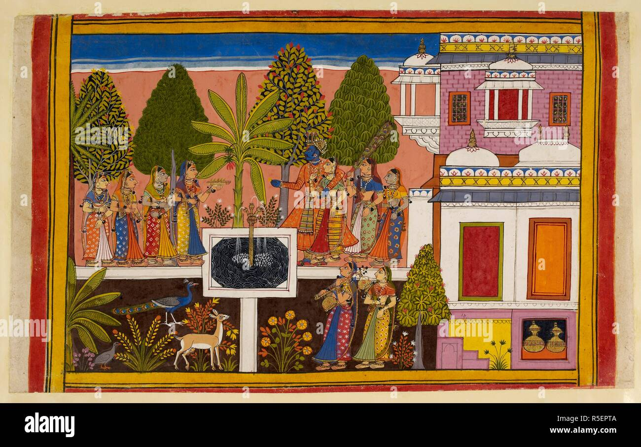 Rāma and Sītā together relax and enjoy wine and music played by nymphs and kinnaras; they are shown in the aśoka grove in the palace garden. Filled with wonderful trees, flowers and fruits, it is depicted as a charbagh garden with the palace on the right. Ramayana. Source: Add. 15297(2), f.70. Language: Sanskrit. - Stock Image
