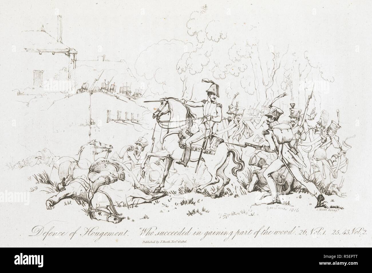 Defence of Hougomont. 'Who succeeded in gaining great part of the wood'. The Battle of Waterloo, also of Ligny and Quatre-Bras described by ... a near observer ... [A narrative by C. A. Eaton, with a sketch by J. Waldie... from sketches by Captain G. Jones. 2 vol. John Booth; T. Egerton: London, 1817. Source: G.5651 part 1, plate 12 opposite page 26. Author: Eaton, Charlotte Anne. Jones, Captain George. - Stock Image