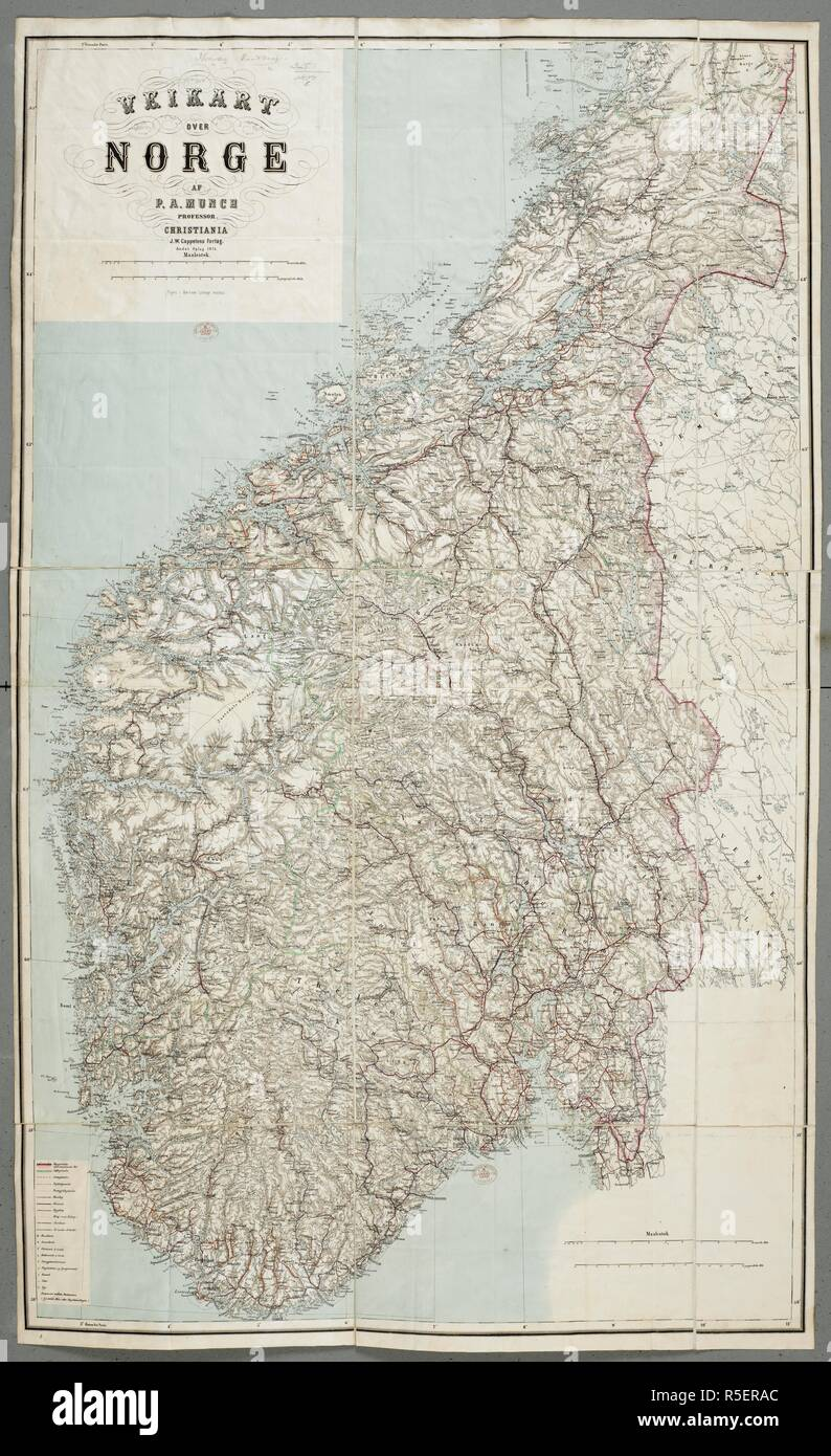 19th Century Norway Map Stock Photos & 19th Century Norway Map Stock on