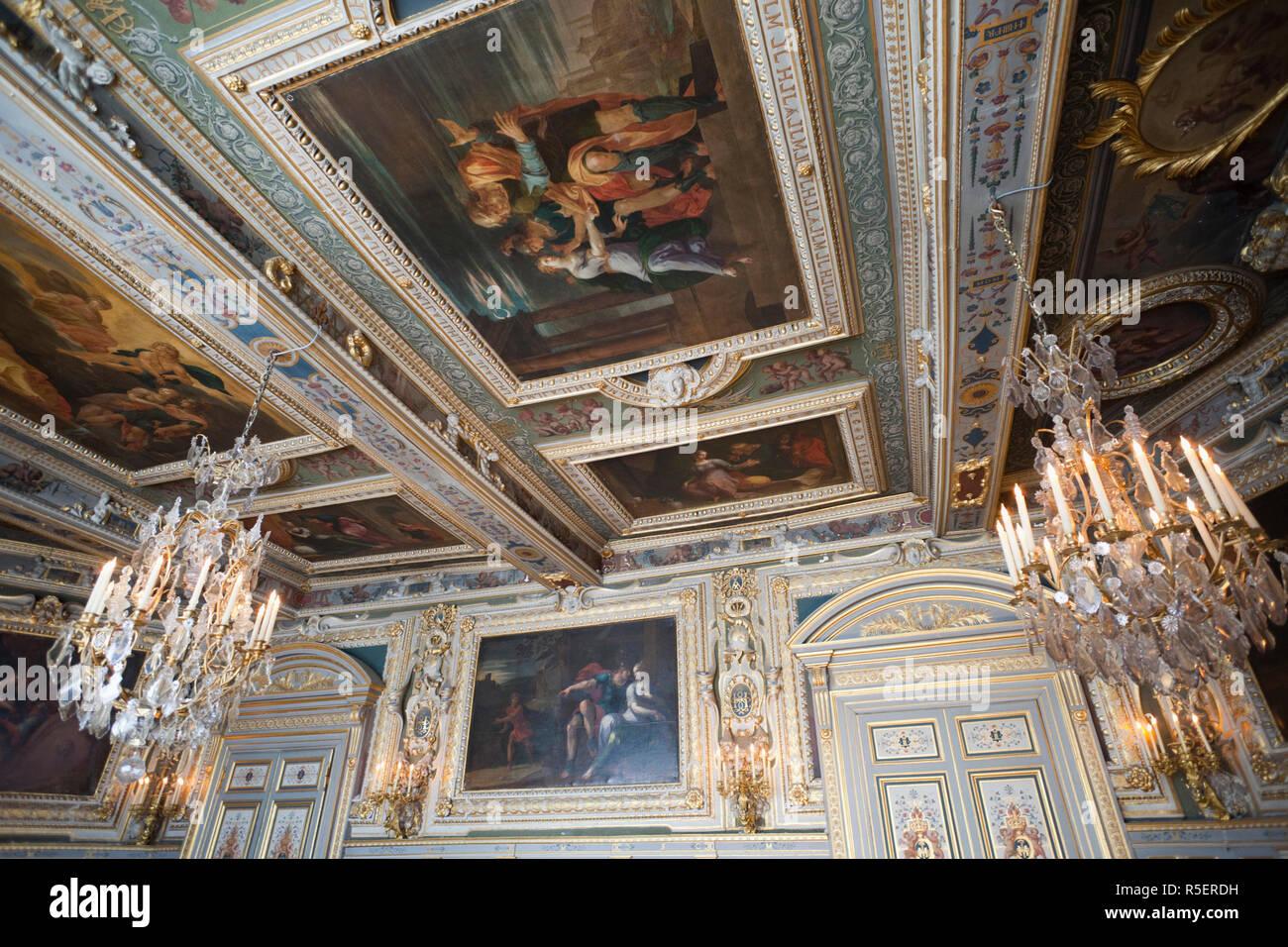 France, Ile-de-France, Fontainebleau, Chateau de Fontainebleau, The State Apartments - Stock Image