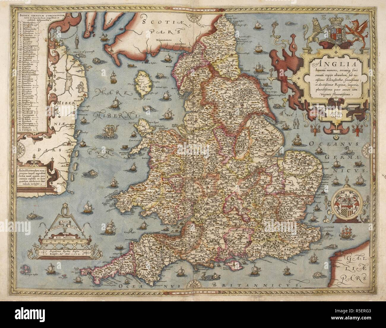London Atlas Map.Saxton S Map Of England And Wales Lord Burghley S Atlas London