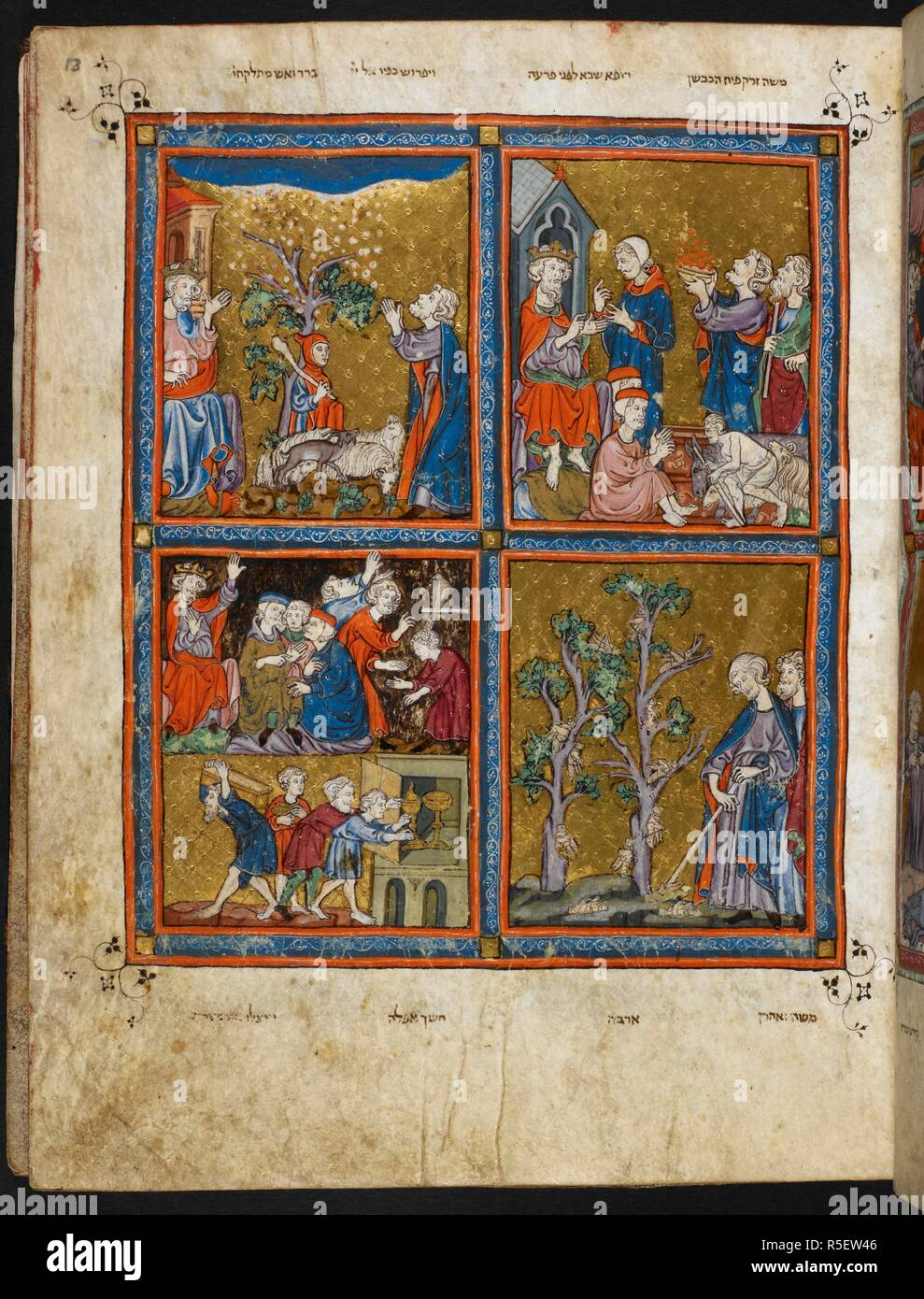 Full-page miniature, upper right: the sixth plague: boils, upper left: the seventh plague: hail, Moses begging God to stop the plague of hail (Ex. 9:33), lower right: the eighth plague: locusts, lower left: the ninth plague: darkness, the Israelites despoiling the Egyptians (Ex. 12:35-36). . Haggadah for Passover (the 'Golden Haggadah''). Spain, N. E., Catalonia (Barcelona?); 2nd quarter of the 14th century. Vellum manuscript. Source: Add. 27210 f.13. Language: Hebrew. - Stock Image