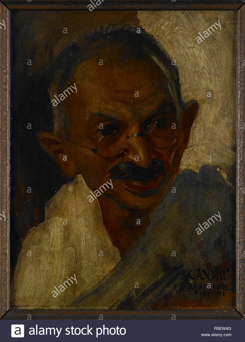Mohandas Karamcand Gandhi (1869-1948), 1931 Head and shoulders portrait of Gandhi wearing spectacles and a shawl. This portrait study of the Indian political leader and social reformer was made during the course of Gandhi's visit to London in 1931 to act as the plenipotentiary representative of the Indian National Congress at the Second Round Table Conference. He made himself available for artists for one day in Novemember 1931. London, 1931. Oil painting. Source: Foster 839. Author: Amschewitz, John Henry. - Stock Image