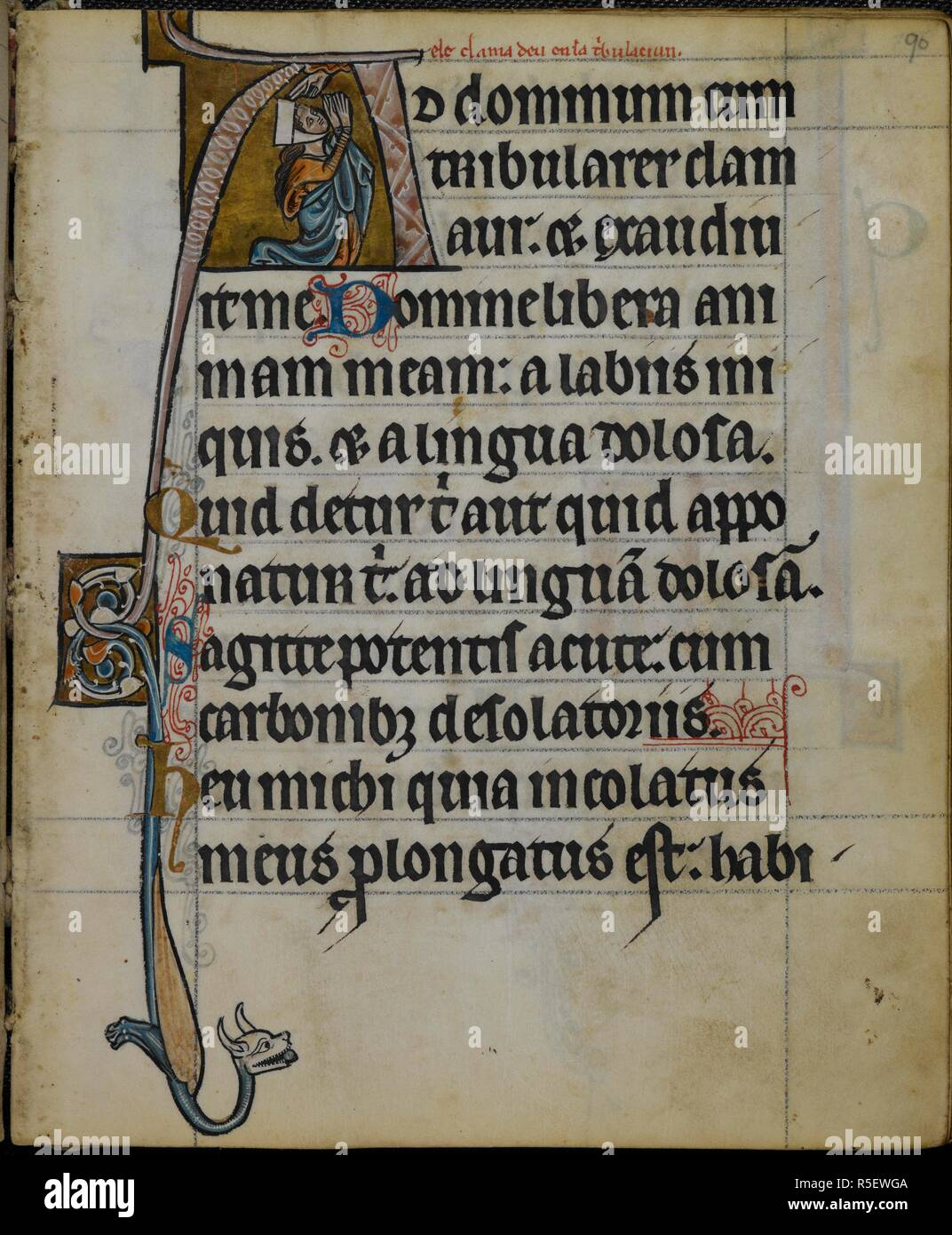 Historiated initial 'A'(d dominum) of Susanna praying (Psalm