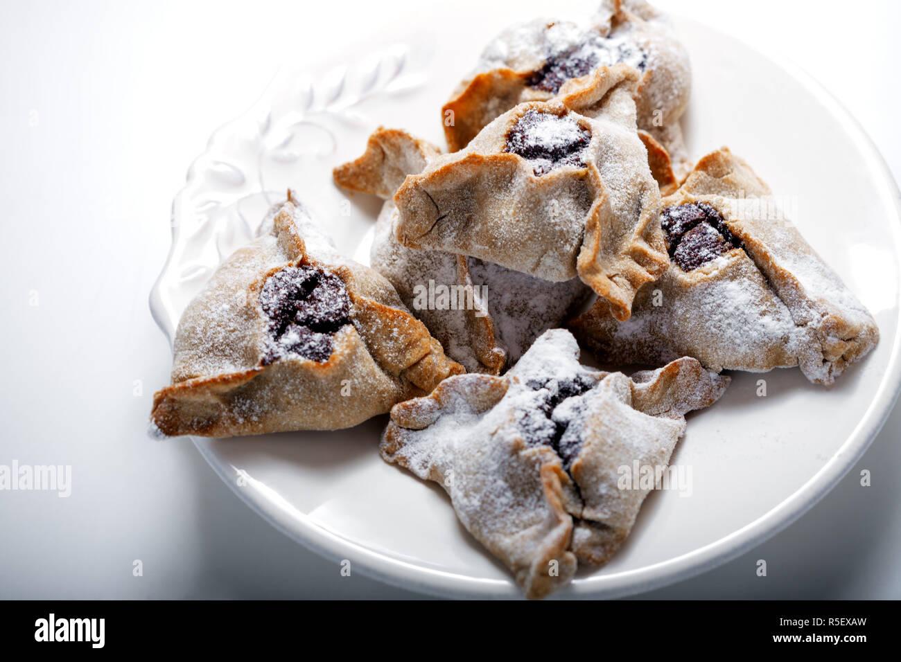 Hamantaschen Cookies for Purim - Stock Image