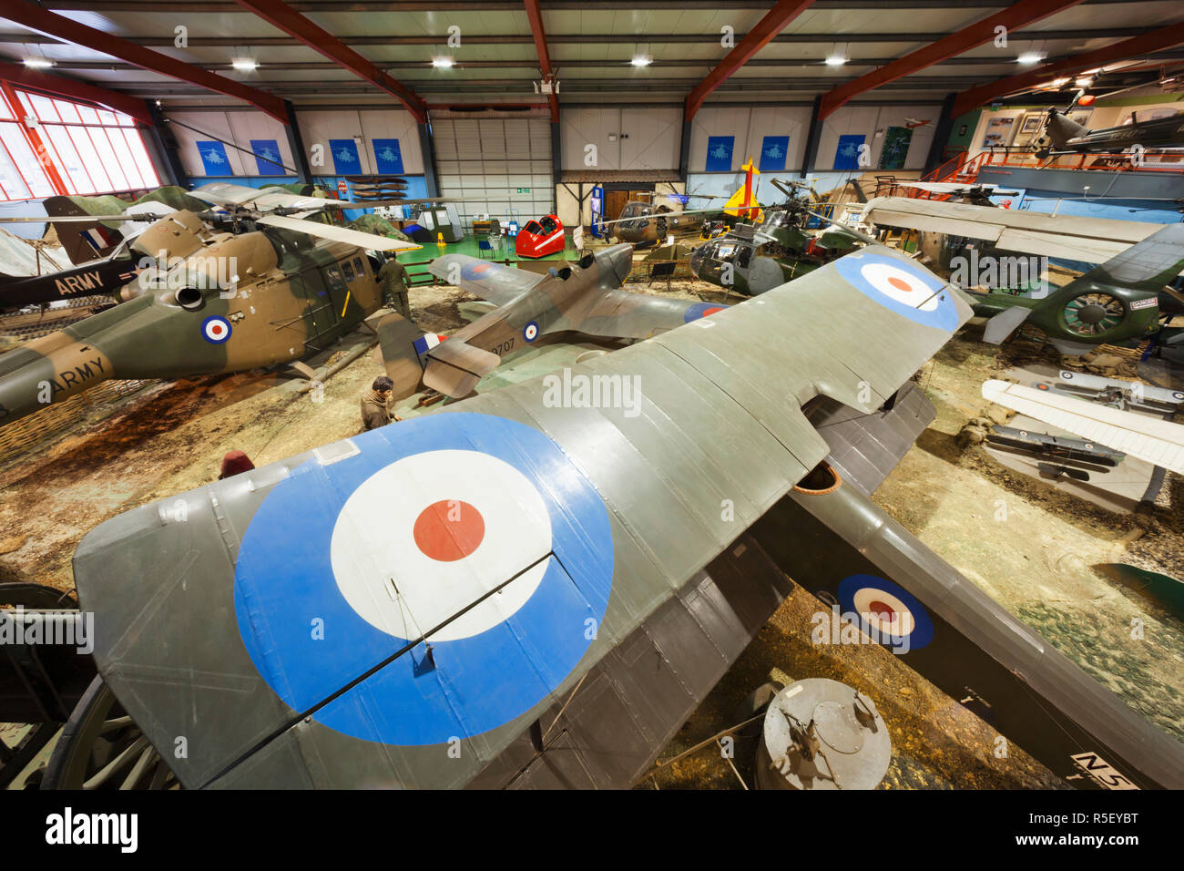 England, Hampshire, Andover, The Museum of Army Flying, Display of Historic Military Aircraft - Stock Image