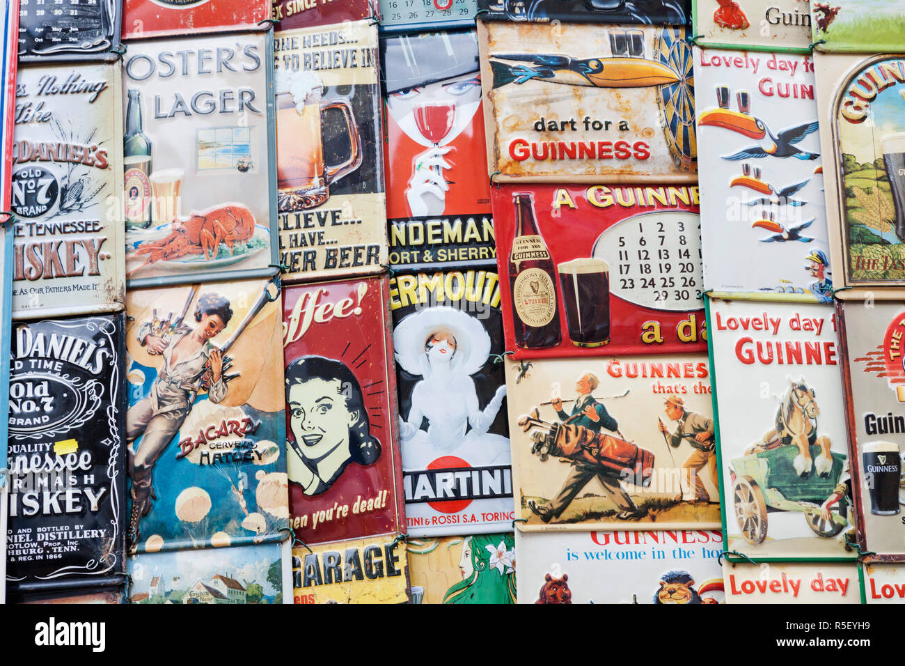 Reproduction Vintage Advertising Signs Stock Photos
