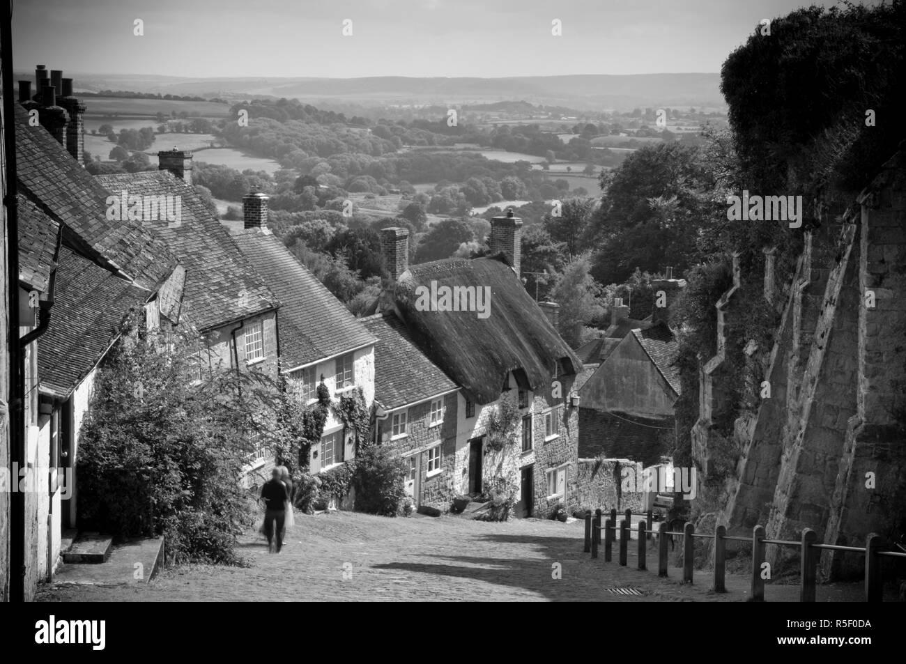 UK, England, Dorset, Shaftesbury, Gold Hill - Stock Image