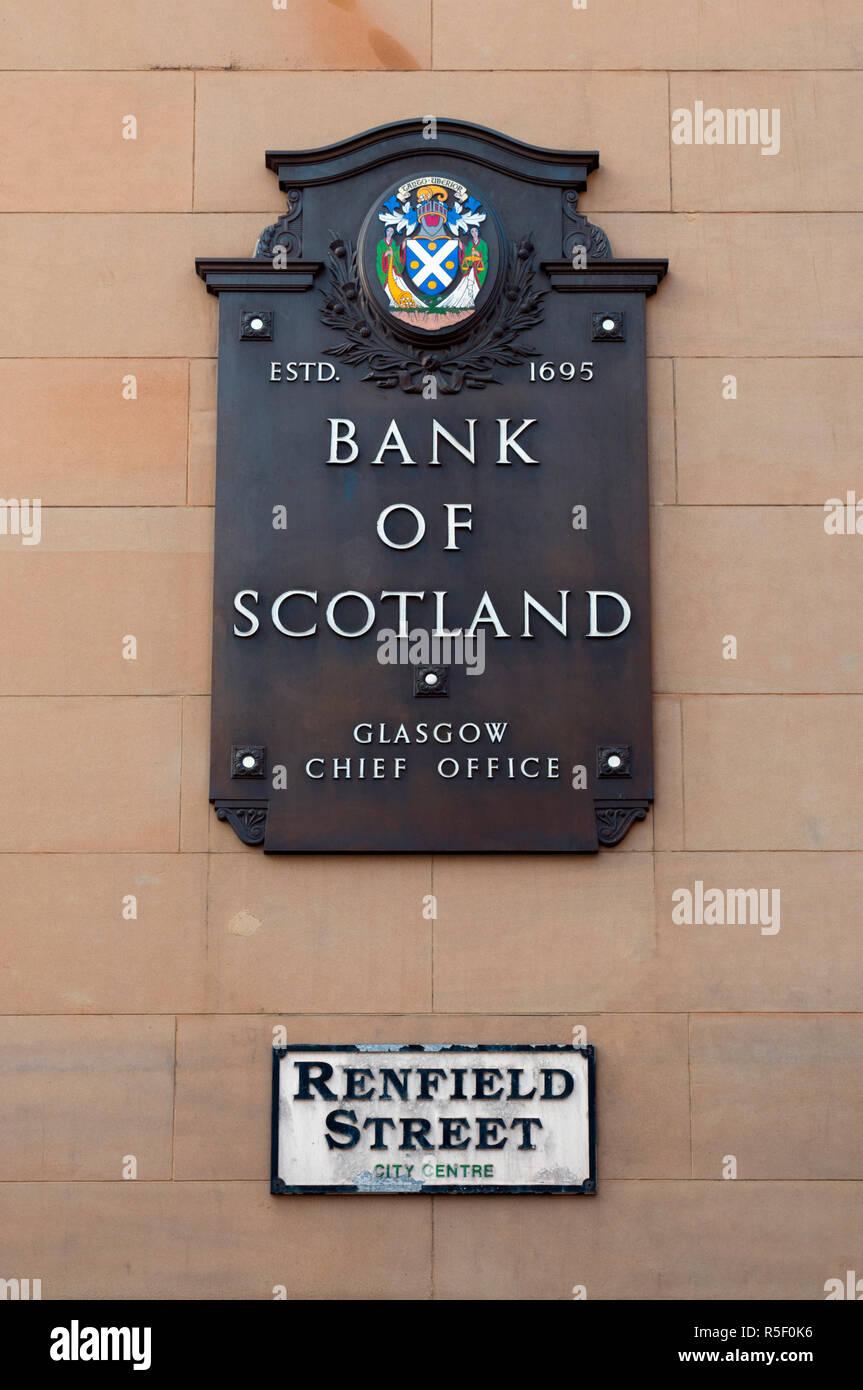 UK, Scotland, Glasgow, Renfield Street, Bank of Scotland sign - Stock Image