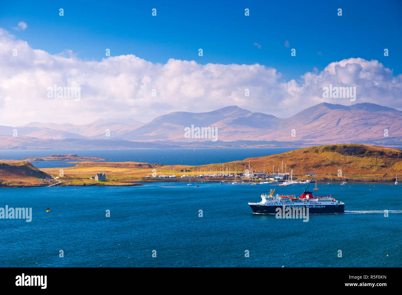 UK, Scotland, Argyll and Bute, Oban, Caledonian MacBrayne Ferry, Isle of Kerrera and Mull beyond - Stock Image