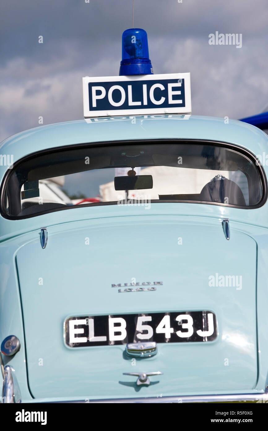 Classic Morris Minor Police Car, N. Devon Show, N. Devon, UK - Stock Image