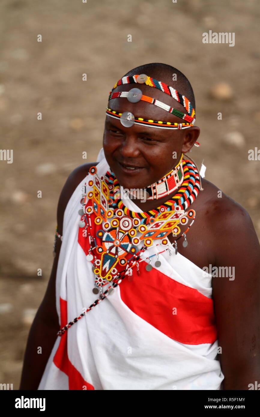 headdress of a samburu warrior in kenya - Stock Image