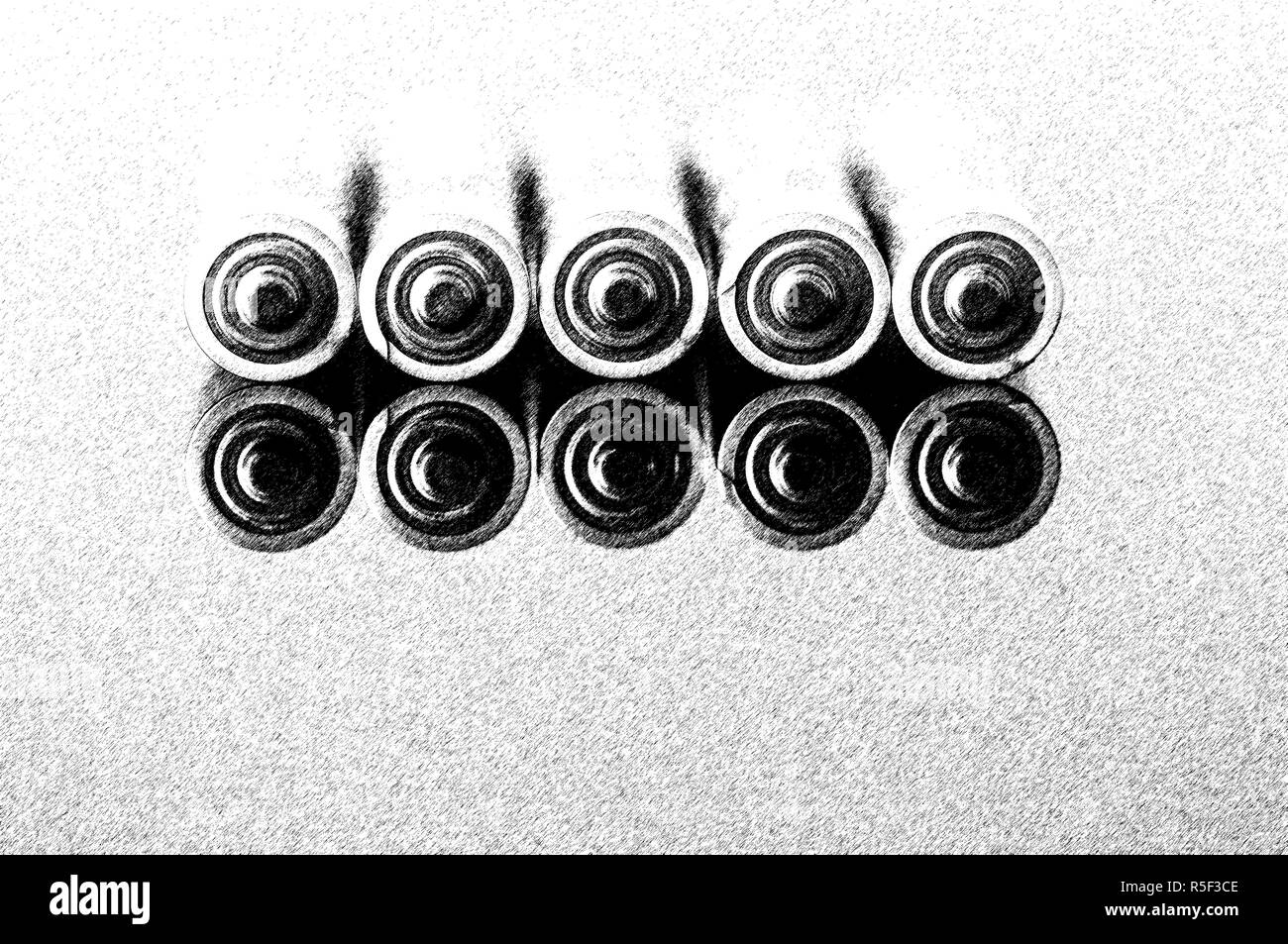 Energy Abstract Background Batteries. Mirror Effect. Graphic Pen Effect. Black And White Photo - Stock Image