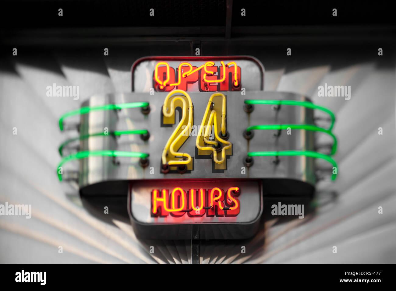 Tick Tock diner sign, Manhattan, New York City, USA - Stock Image