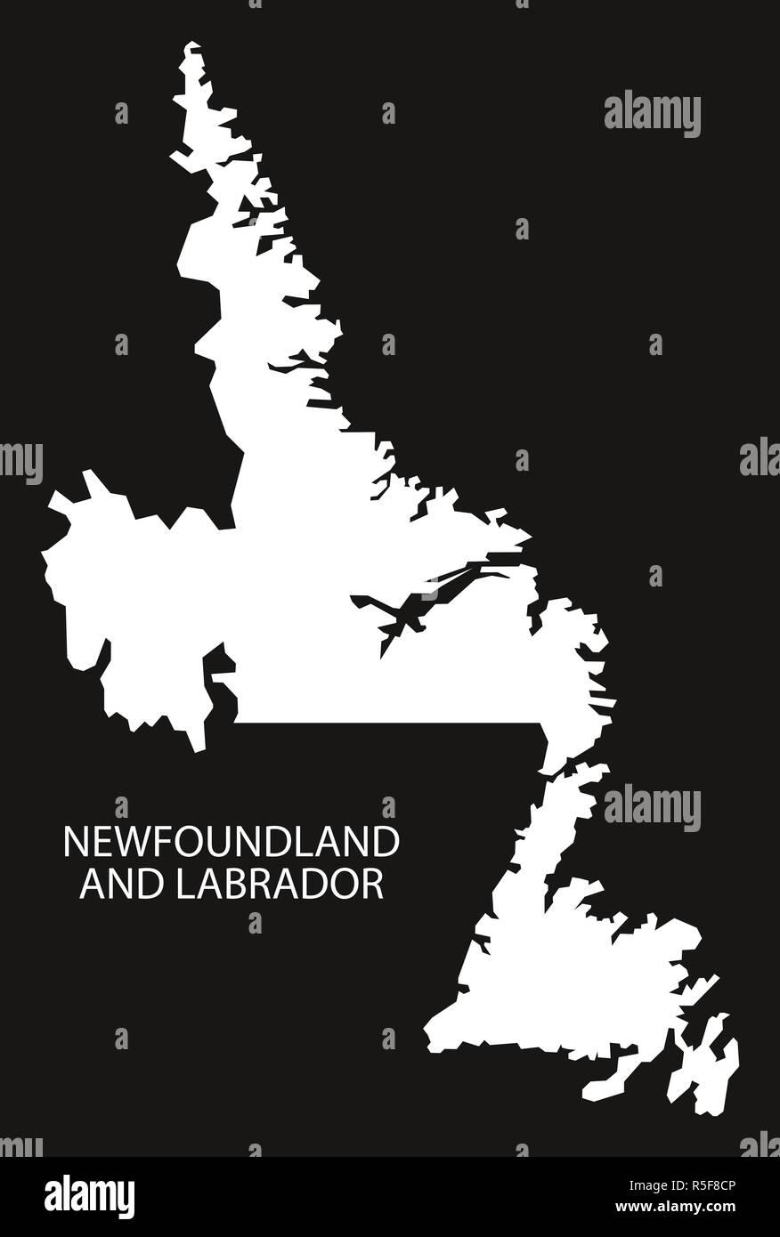 Newfoundland and Labrador Canada map black inverted silhouette illustration shape Stock Photo