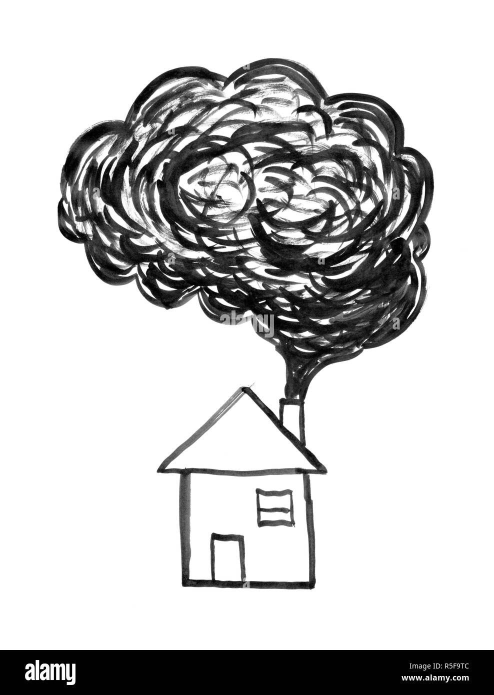 Black ink hand drawing of smoke coming from house chimney air pollution concept