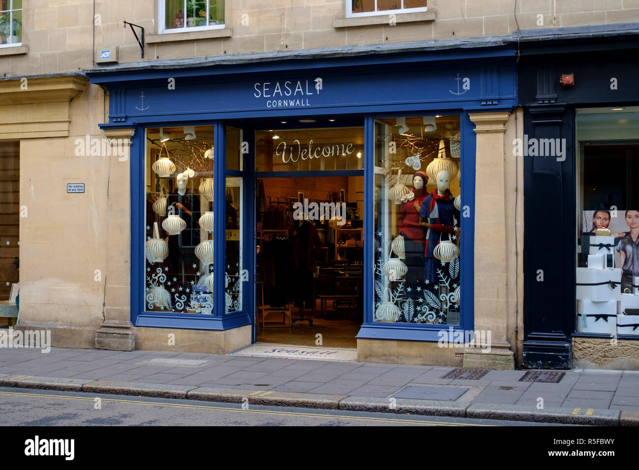A winters day in Bath city Center, somerset england UK  Seasalt shop - Stock Image