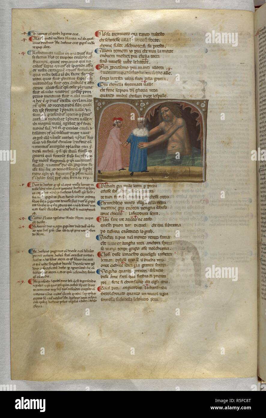 Inferno: Virgil guides Dante into the arms of the giant Anteus. Dante Alighieri, Divina Commedia ( The Divine Comedy ), with a commentary in Latin. 1st half of the 14th century. Source: Egerton 943, f.56v. Language: Italian, Latin. - Stock Image