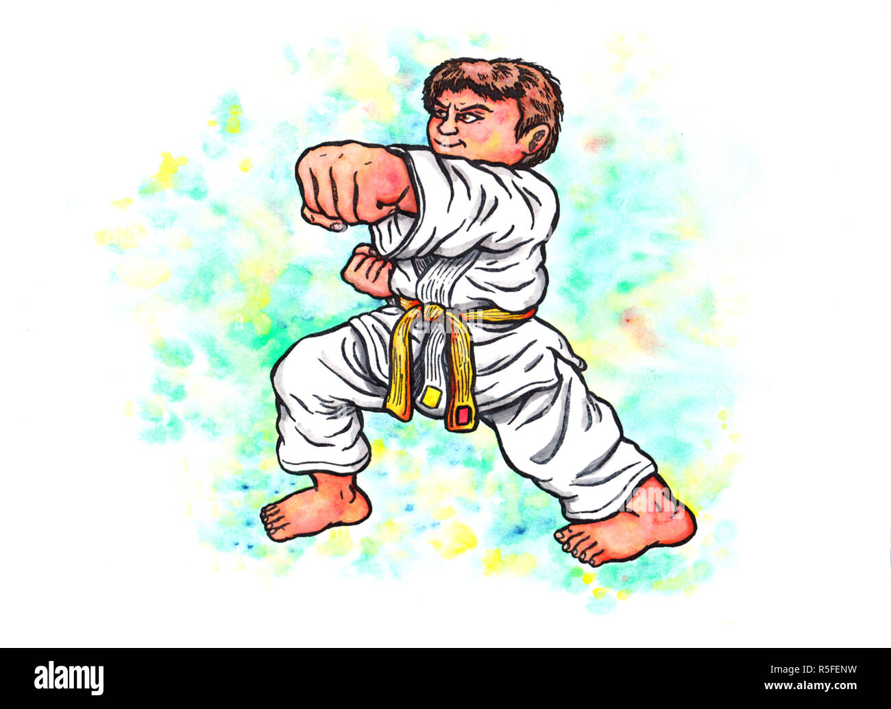an abstract colorful watercolor cartoon illustration of a young boy wearing a karate suit with a yellow belt, smiling confidently and doing a punch  the entire image is hand drawn with ink and colored with watercolor and the blurring is intended - Stock Image