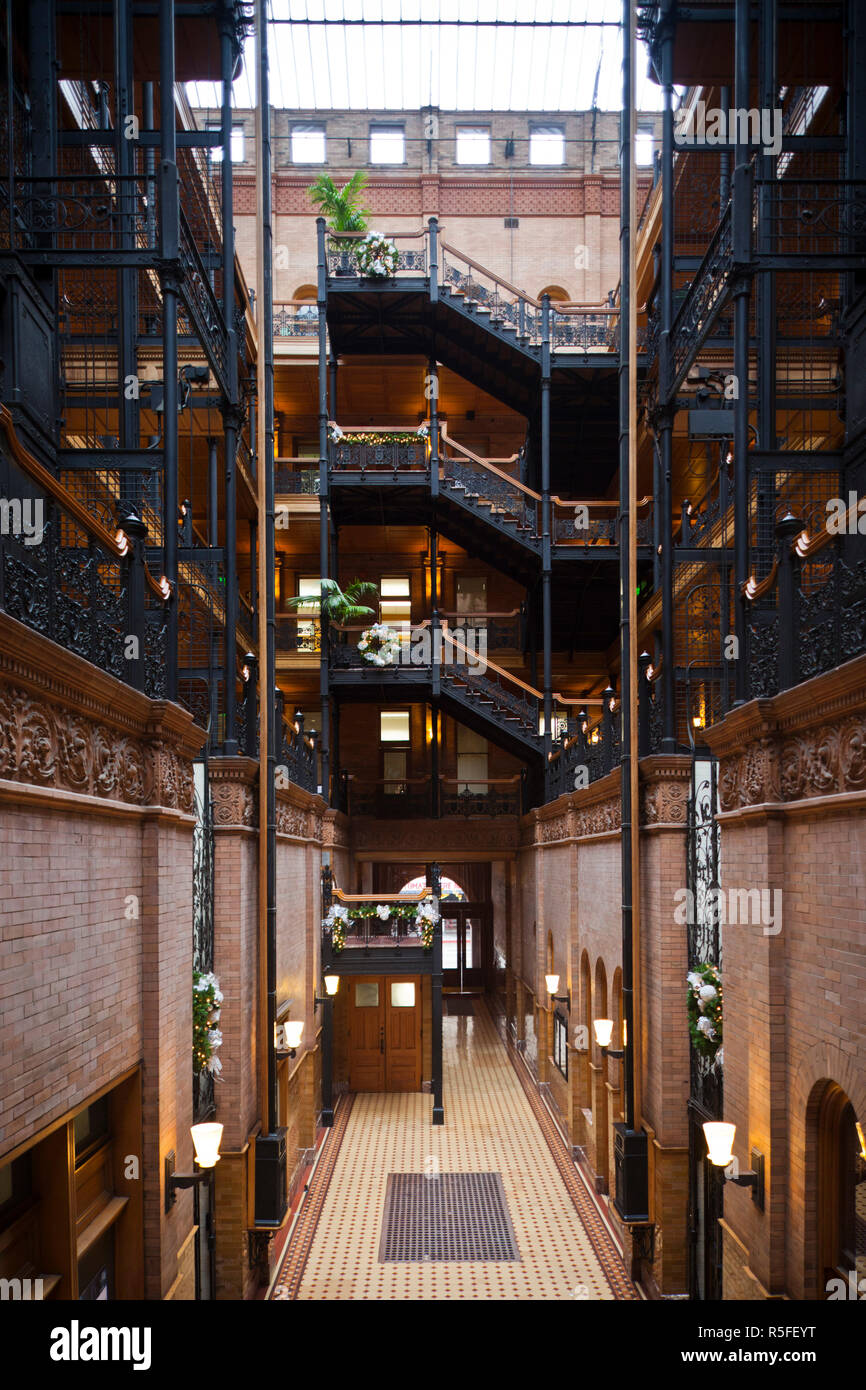 USA, California, Southern California, Los Angeles, interior of the Bradbury Building featured in the film Blade Runner by Ridley Scott - Stock Image