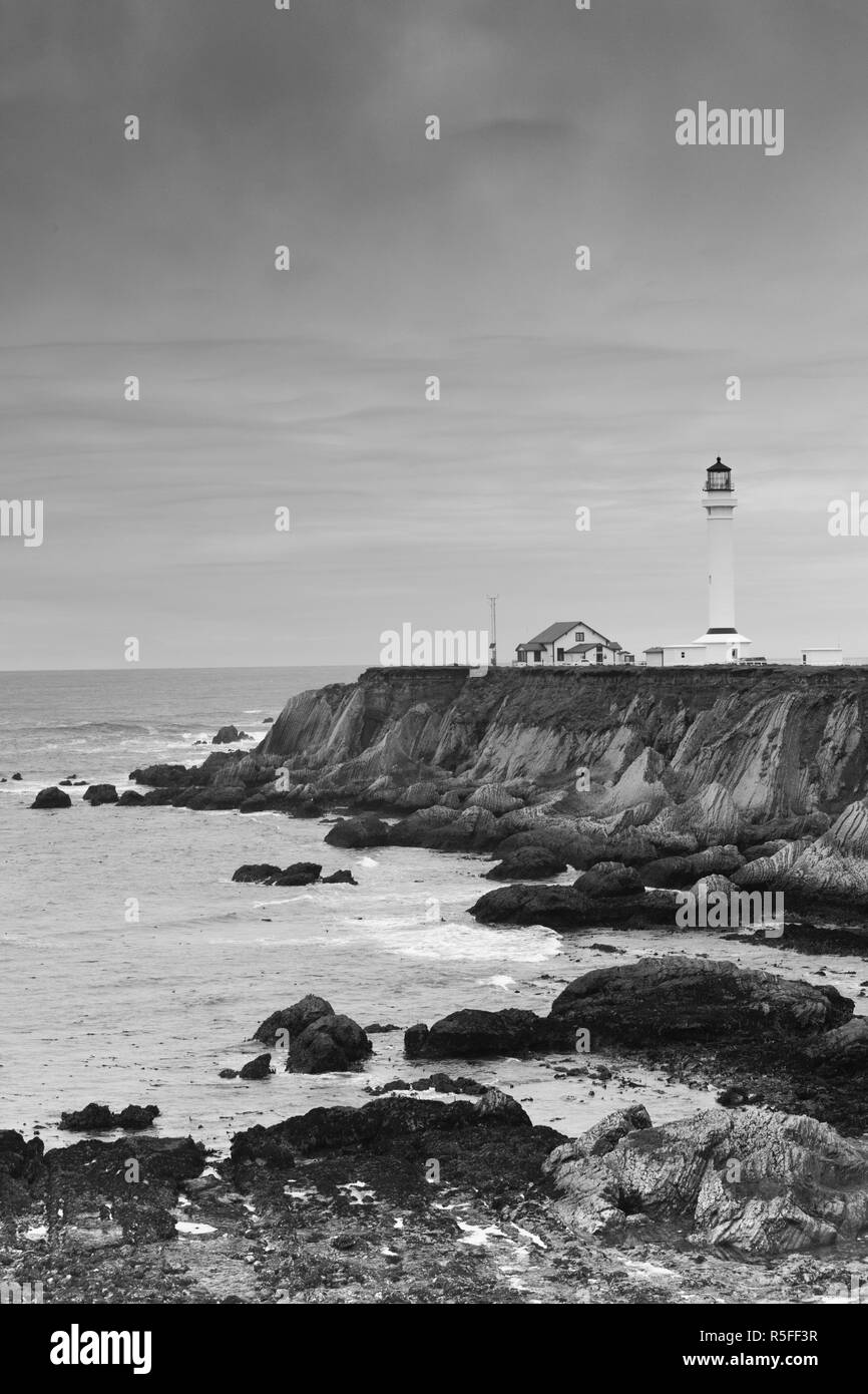 USA, California, Northern California, North Coast, Point Arena, Point Arena Lighthouse - Stock Image