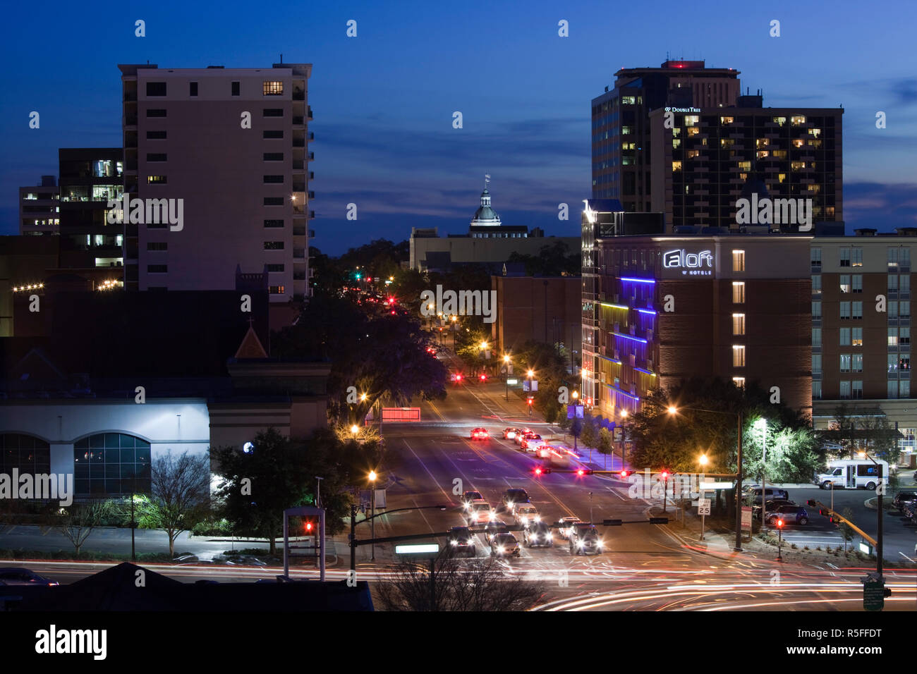 USA, Florida, Florida Panhandle, Tallahassee, downtown elevated view from Monroe Street, dusk - Stock Image