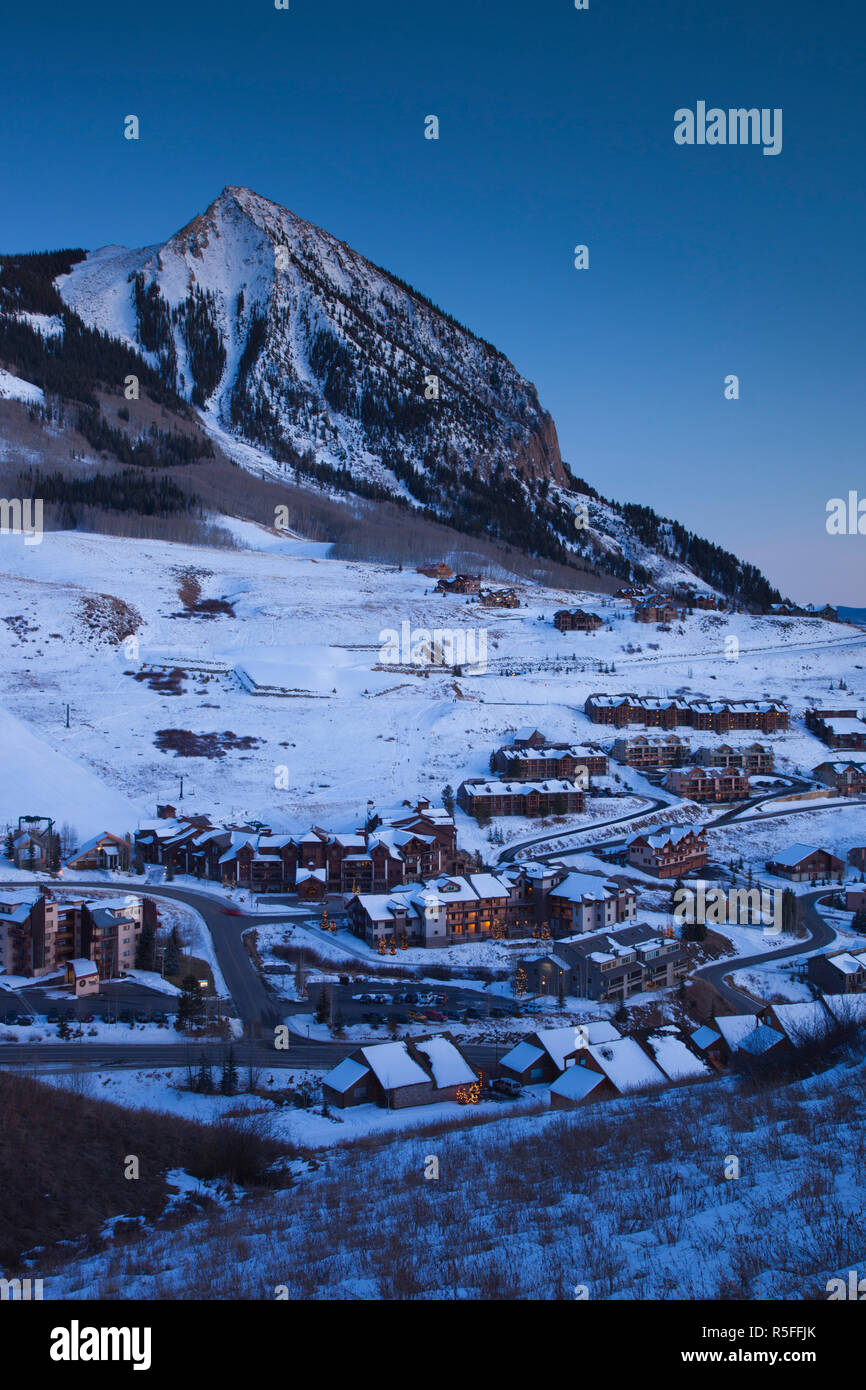 USA, Colorado, Crested Butte, Mount Crested Butte Ski Village, elevated view and Mount Crested Butte Mountain Stock Photo