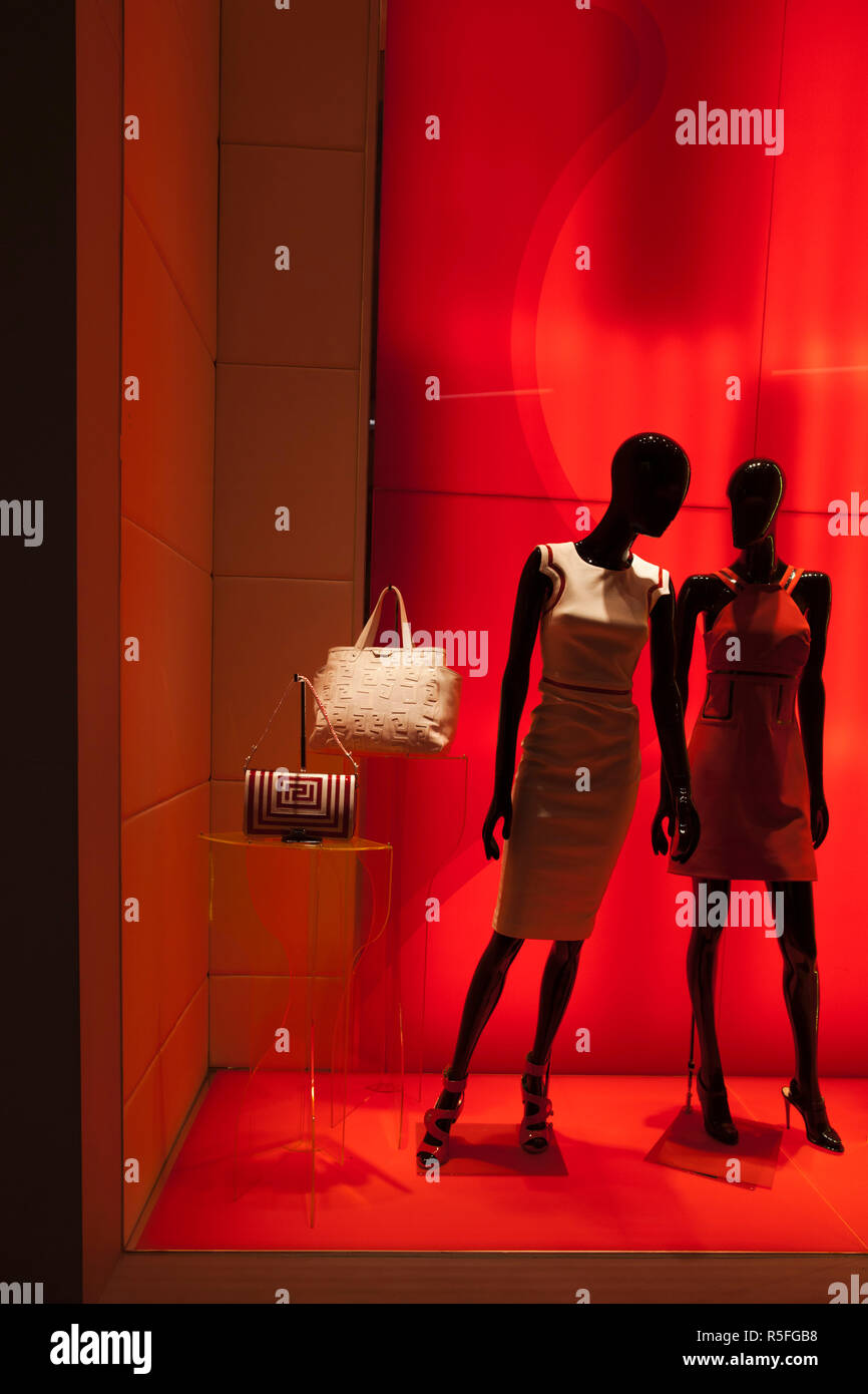 USA, Nevada, Las Vegas, CityCenter, Crystals Luxury Mall, Versace shop, store window - Stock Image