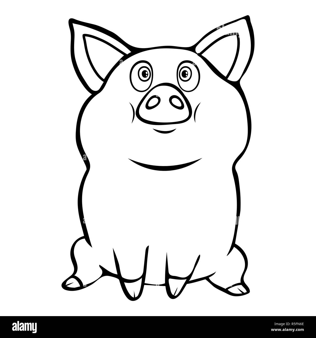 Cute funny pig linear hand drawing cartoon character