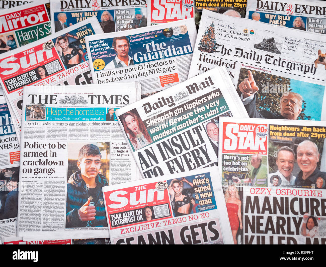 A pile of Newspapers from the United Kingdom - Stock Image
