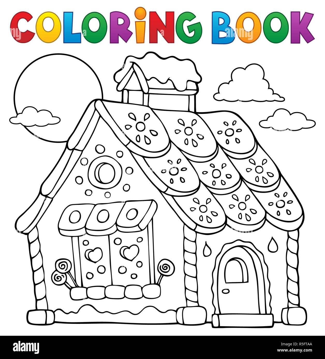Coloring Book Gingerbread House Theme 1 Stock Photo: 227156450 - Alamy