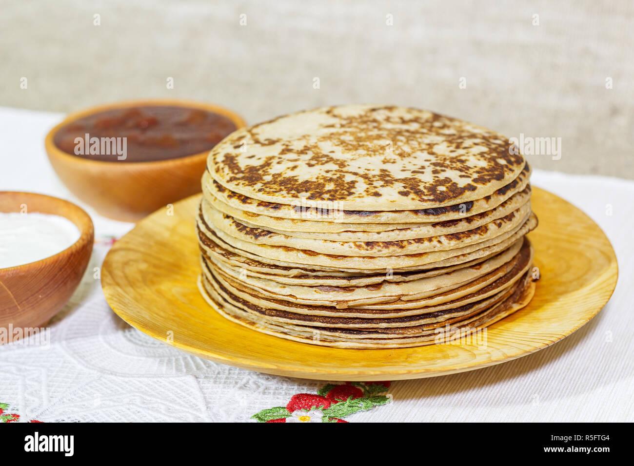 Close-up of pancake stack - Stock Image