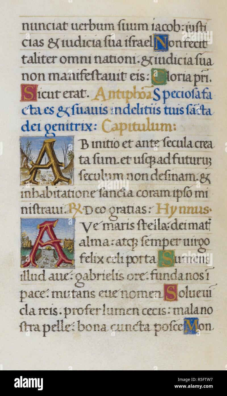 Text Page Initials A Mirandola Hours Italy Circa 1490 1499