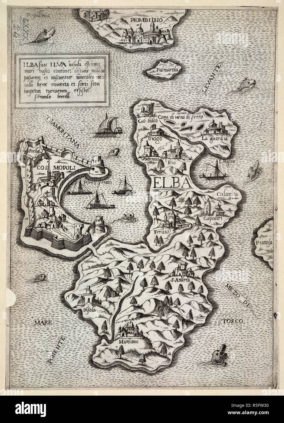 Ilba, sive Ilva Insula. [By] F. Bertelli.. Venetiis, 1568. Map of the isle  of Elba. Image taken from Ilba, sive Ilva Insula. [By] F. Bertelli.