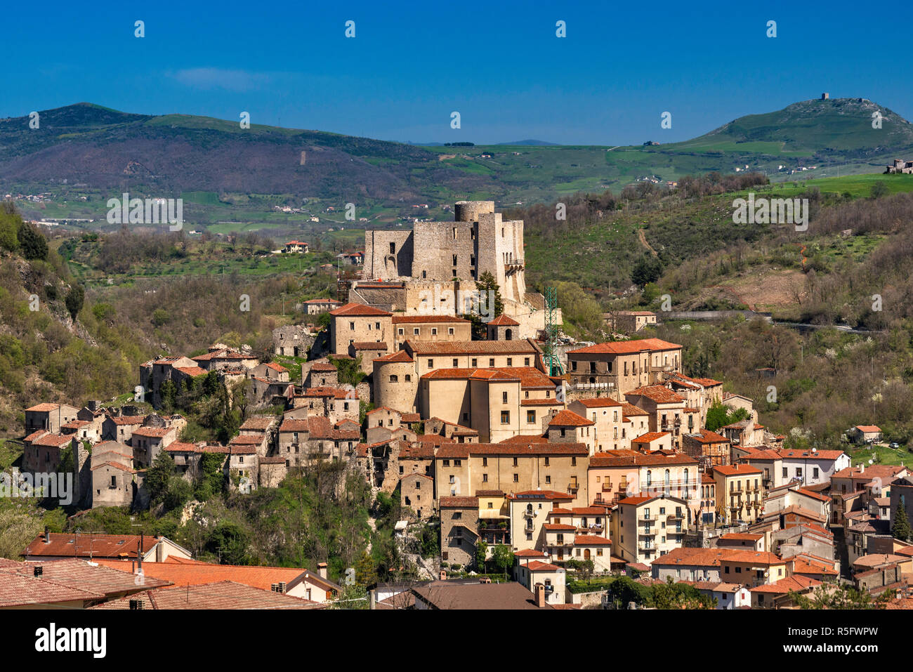 Medieval castle over town of Brienza, Lucanian Apennines, Basilicata, Italy Stock Photo