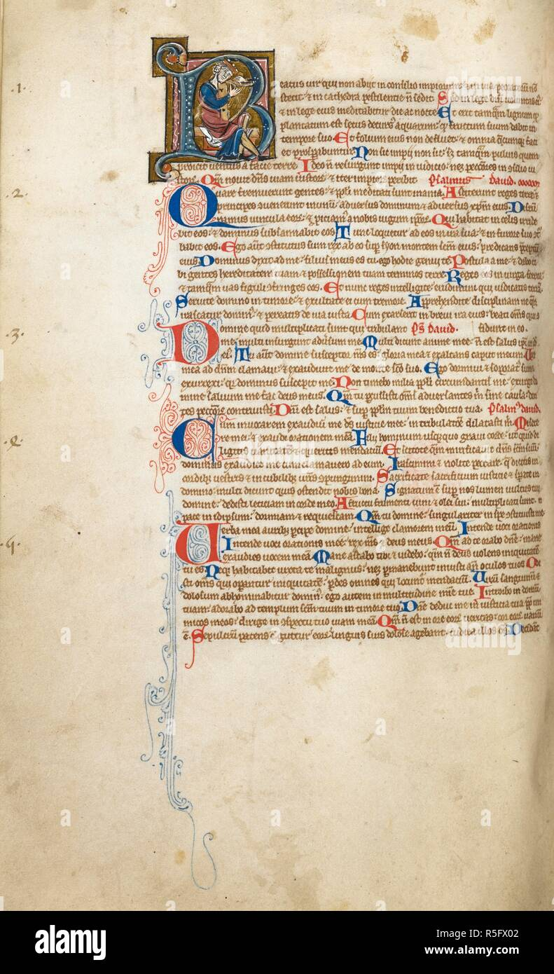 Historiated initial 'B'(eatus) of David playing a harp at the beginning of Psalms. A later owner has numbered the Psalms in medieval arabic numerals, 1-5, at the outer edge of the left margin. Bible, imperfect, with table of contents (ff. 1v-2), liturgical calendar (ff. 423-424), and sermon notes between the Old and New Testaments, (ff. 425-429v) and lections (f. 534r-v). England, S. E. (Canterbury); 2nd quarter of the 13th century, probably before 1246. Source: Egerton 2867, f.244v. Language: Latin. - Stock Image