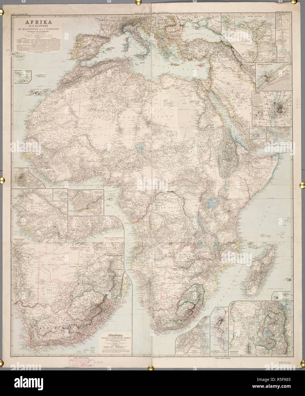 Africa. Afrika, in 6 Blättern, im Maassstab von 1: 10,000,. c.1890 ...