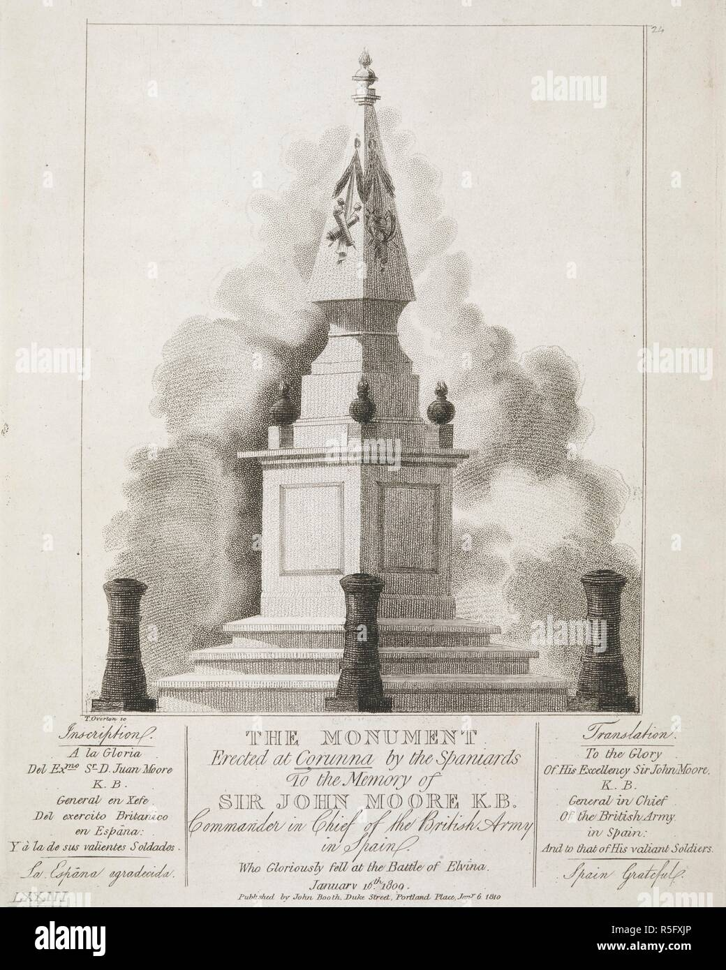 A Pyramid Decorated With Military Regalia And Flaming Spheres On Square Plinth Three Steps Enclosed By Cannon Shaped Poles