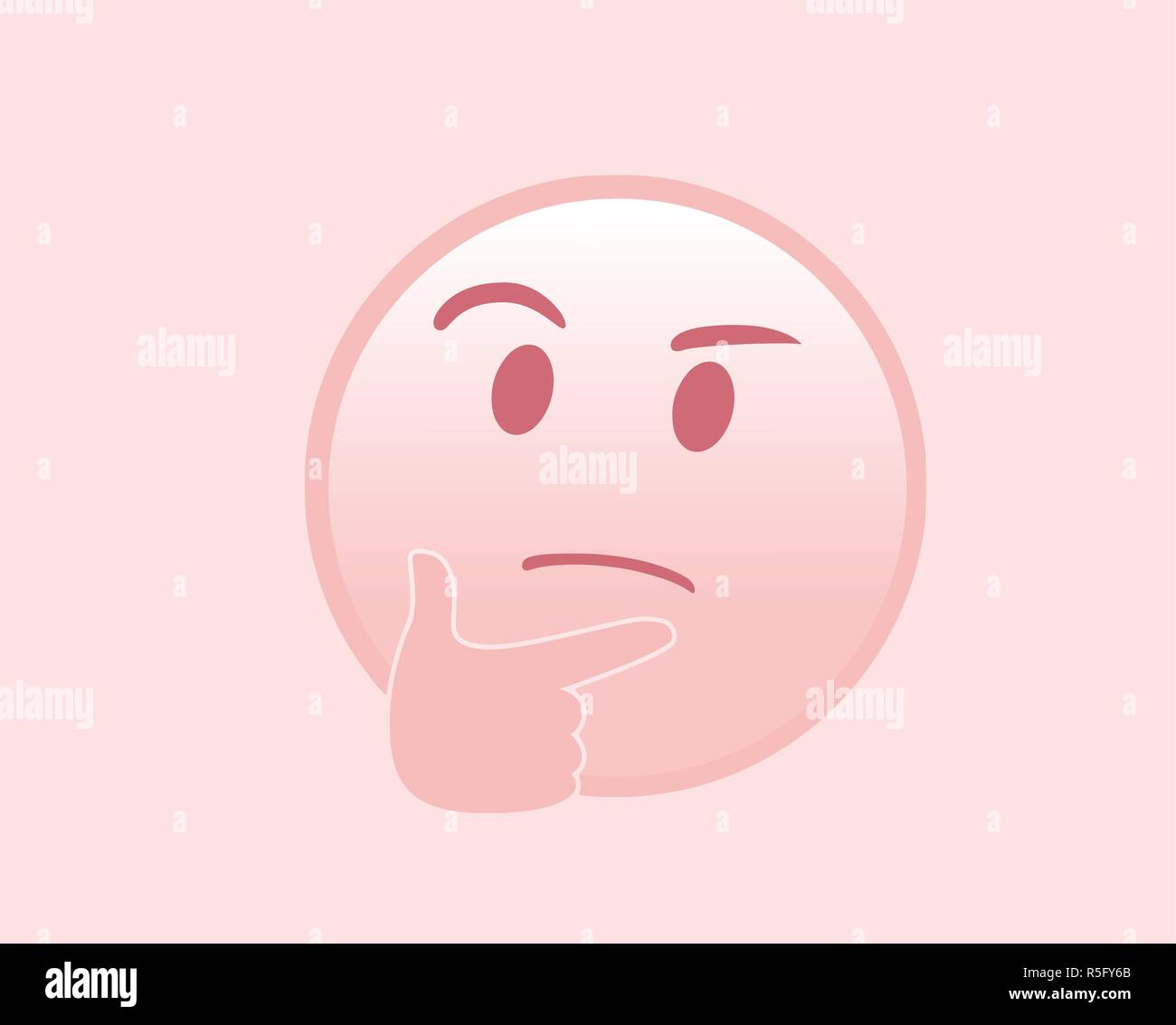 The isolated vector pink pondering face with right hand icon flat icon - Stock Vector