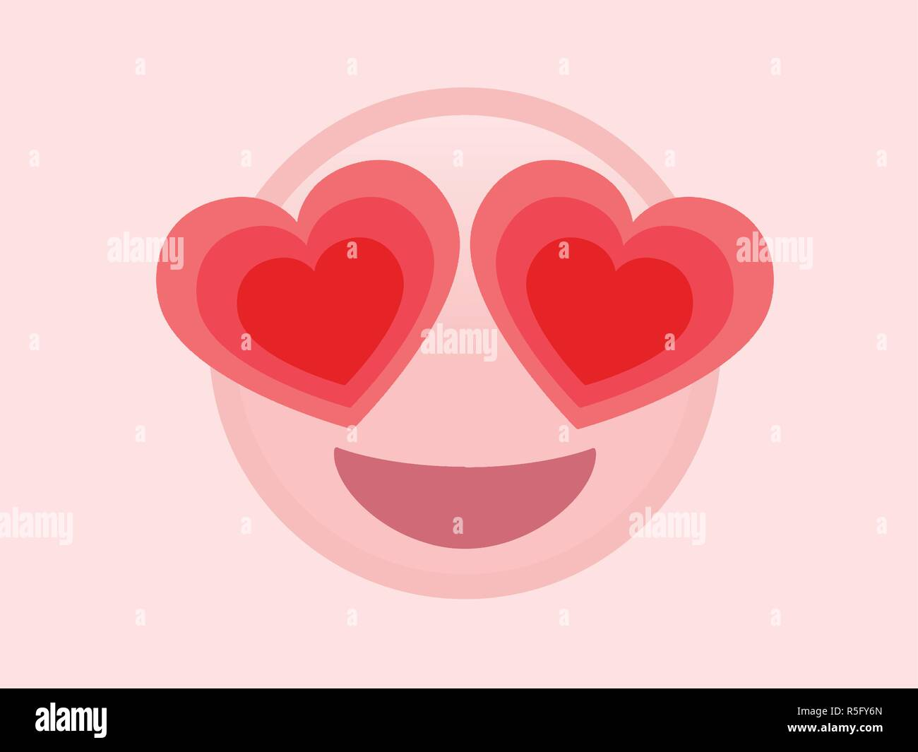 The isolated vector pink happy face with red heart eyes flat icon - Stock Vector
