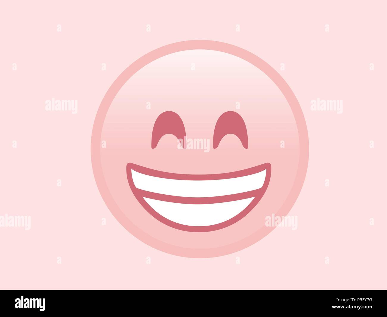 The isolated pink smiling face with the white teeth icon - Stock Vector