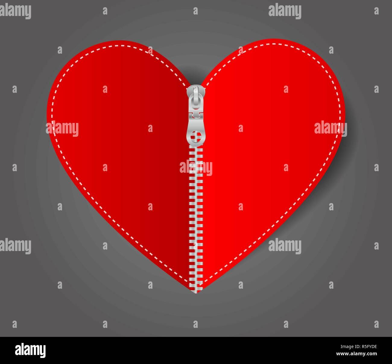 Vector Heart sealed white zipper - Stock Image