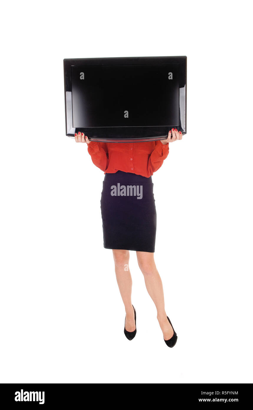 Woman with TV over face. - Stock Image