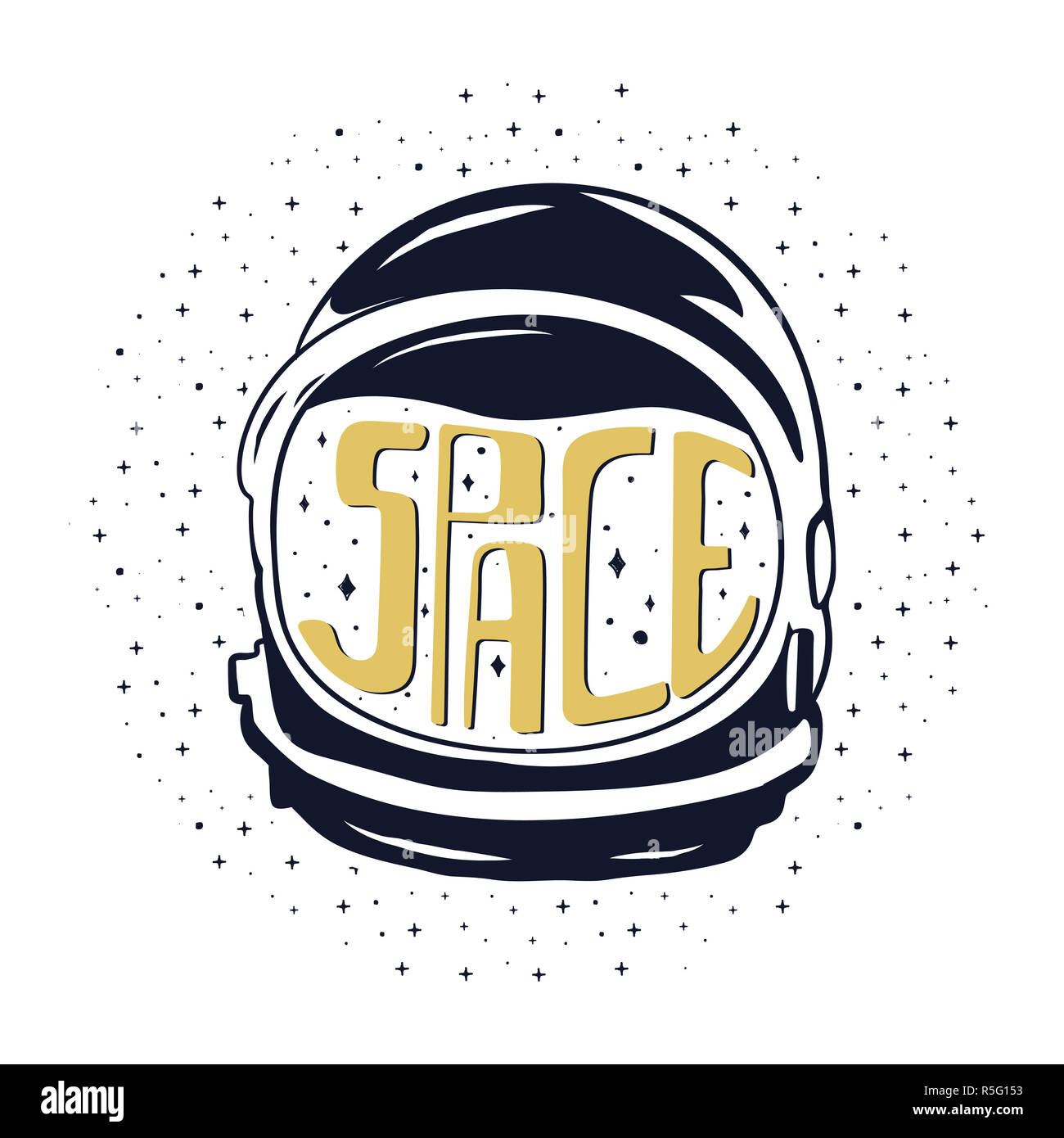 Vintage hand drawn astronaut helmet to space travel with custom texts - space and stars. Stock emblem isolated on white background. Good for T-Shirts, mugs - Stock Image