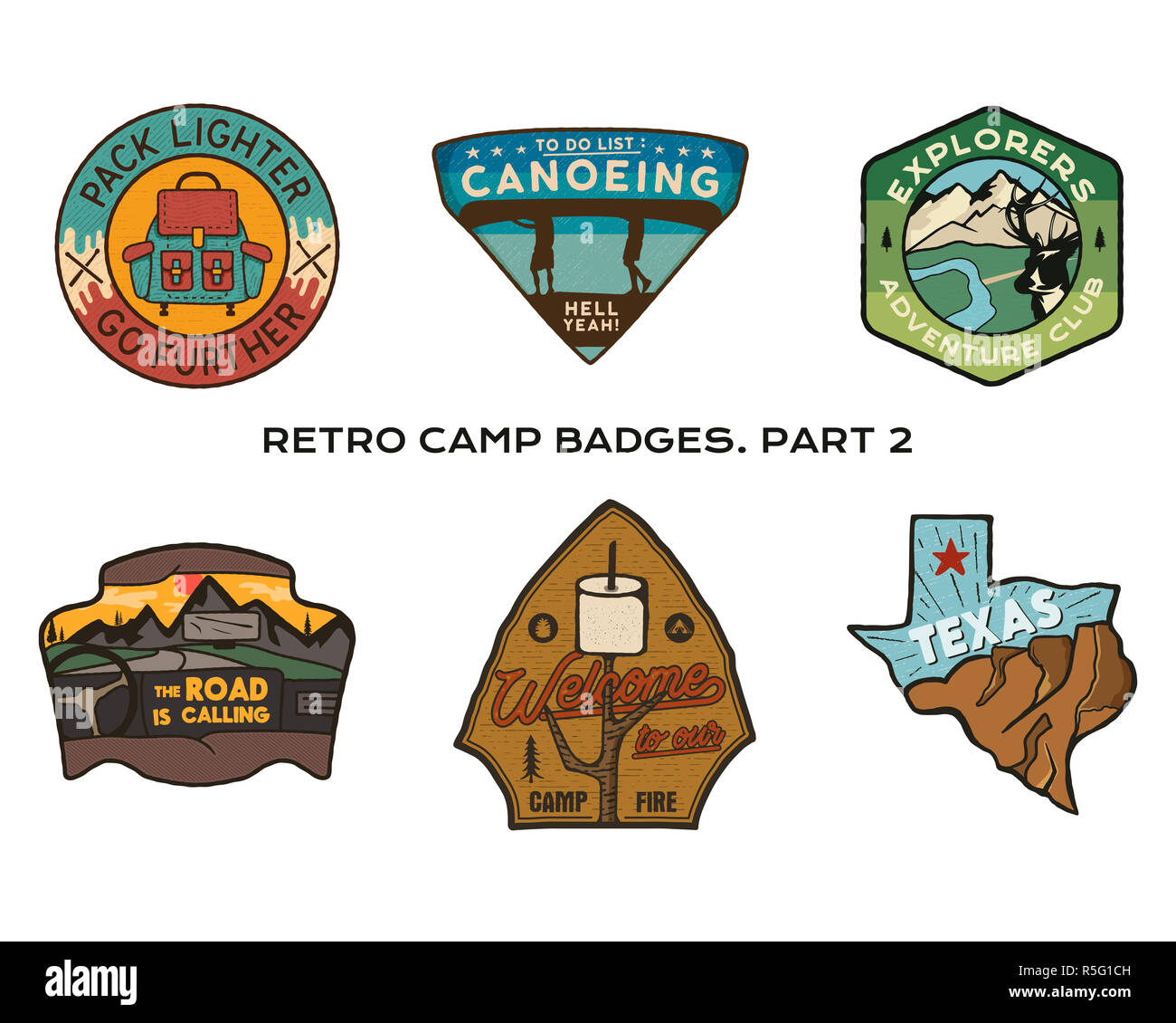 Vintage hand drawn travel badges set  Camping labels