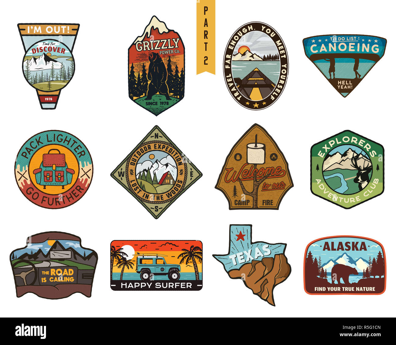 Vintage hand drawn travel badges set. Camping labels concepts. Mountain expedition logo designs. Outdoor hike emblems. Camp logotypes collection. Stock patches isolated on white background. - Stock Image